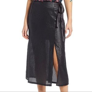 (NWT) Something Navy Wrap Sequin Midi Skirt
